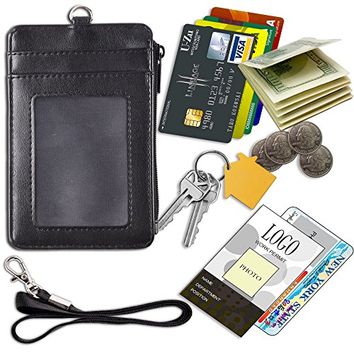 Badge Holder with Zipper, Arae PU Leather ID Badge Card Holder Wallet with [2 ID Window] Cash Pockets Credit Card Slots and Detachable Lanyard/Strap (Zipper-Vertical, Black)