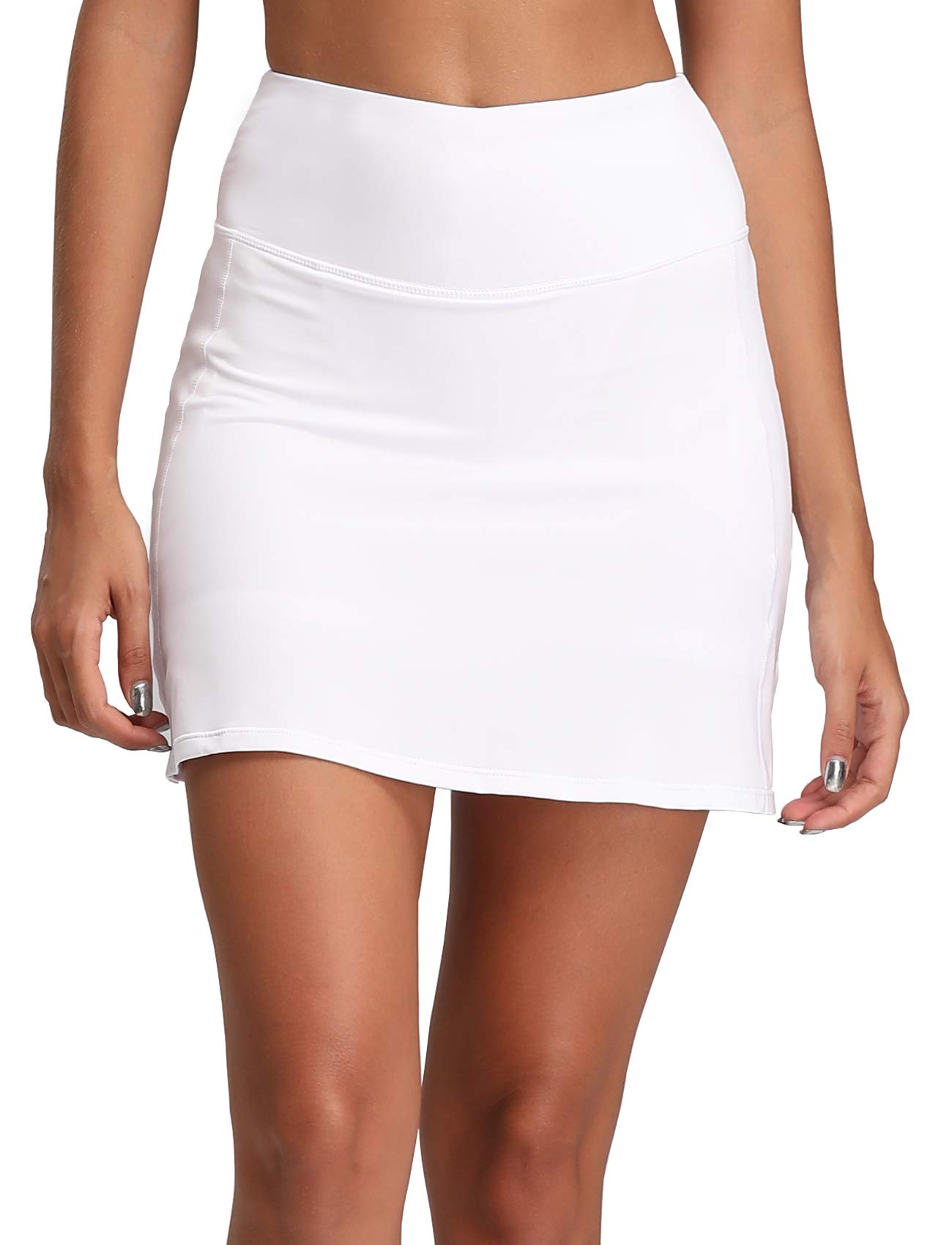 Women's Active Athletic Skirt Sports Golf Tennis Running Pockets Skort White Pure XXL by Oalka