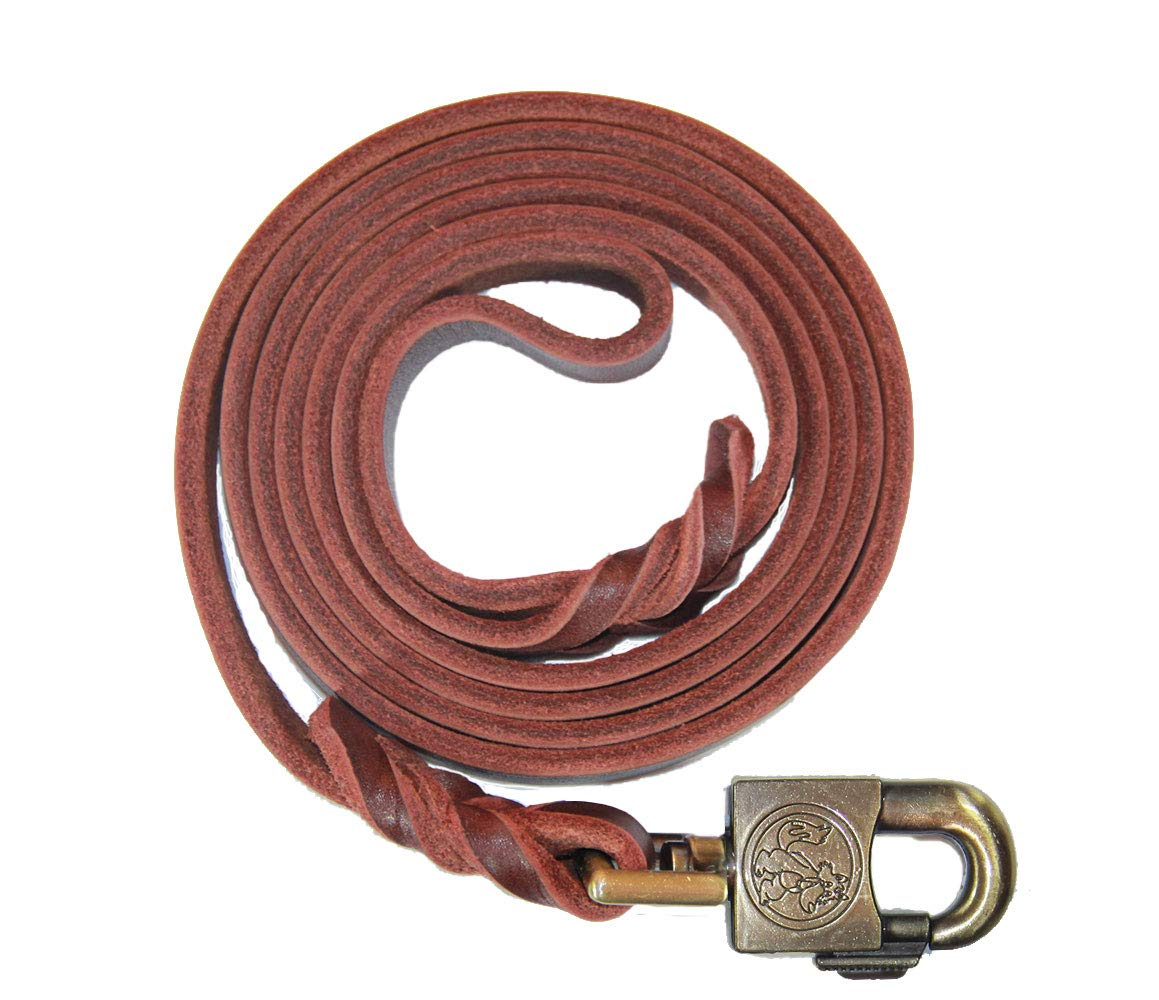 RVT Pet Care Leather Dog K9 Training Leash in Brown 6 Foot Leash Featuring Easy Open Slider Clasp for Pain-Free Hands Water Resistant