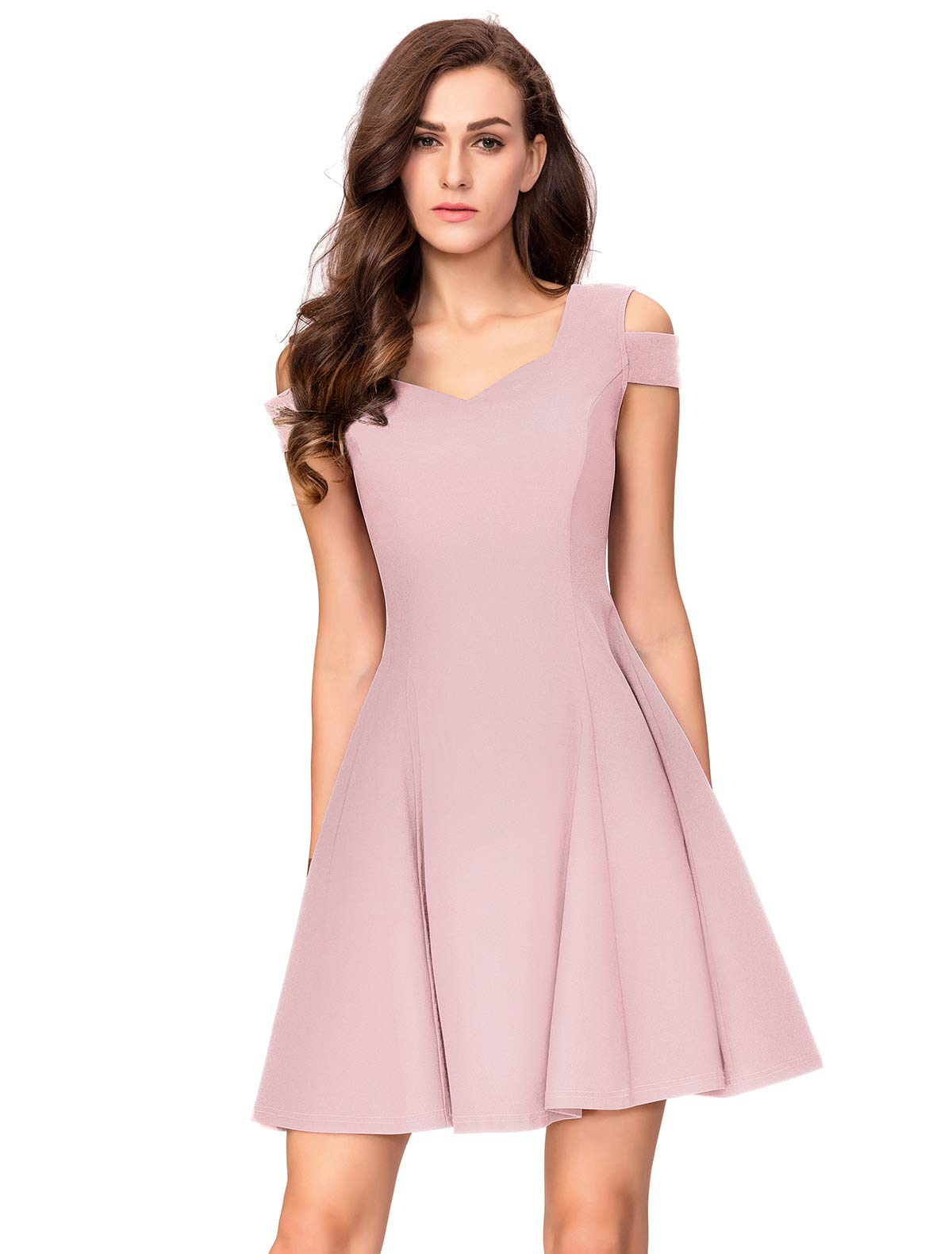 07f9edc7494 ... Dresses InsNova Women s Cold Shoulder Little Cocktail Party A-line  Skater Dress (Medium