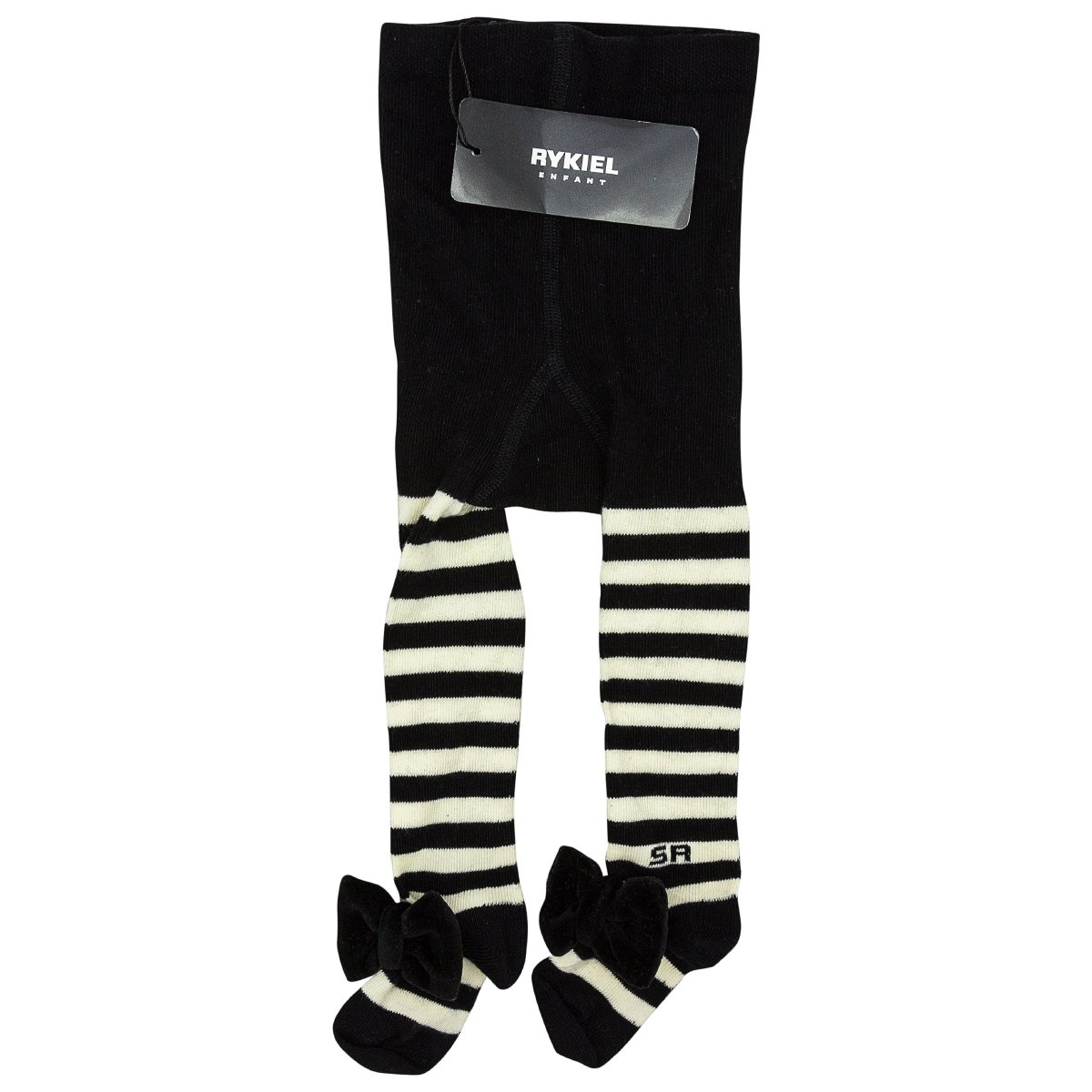 Sonia Rykiel Striped Tights with Velvet Bow