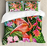 Flamingo Duvet Cover Set King Size by Ambesonne, Illustration of Flamingo with Tropical Garden Hibiscus Flower Plant Vintage, Decorative 3 Piece Bedding Set with 2 Pillow Shams, Green Pink Blue