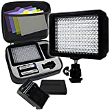 LimoStudio, AGG1318, 160 LED Video Photo Light for Digital DSLR Camera and Camcorder, High Brightness Lumen Value, Dimmable Switch with Color Filter Gel, Battery, Charger, Carry Bag Included
