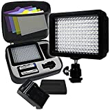 LimoStudio - AGG1318 - 160 LED Video Photo Light for Digital DSLR Camera and Camcorder - High Brightness Lumen Value - Dimmable Switch with Color Filter Gel - Battery - Charger - Carry Bag Included