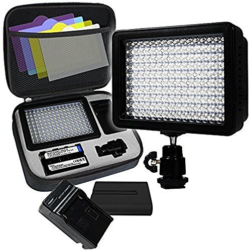 LimoStudio, AGG1318, 160 LED Video Photo Light for Digital DSLR Camera and Camcorder, High Brightness Lumen Value, Dimmable Switch with Color Filter Gel, Battery, Charger, Carry Bag Included by LimoStudio