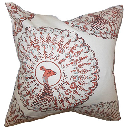 The Pillow Collection QUEEN-d-paboreal-coral-c95-l5 Coral Ieesha Animal Print Bedding Sham, Queen/20'' x 30'' by The Pillow Collection (Image #1)
