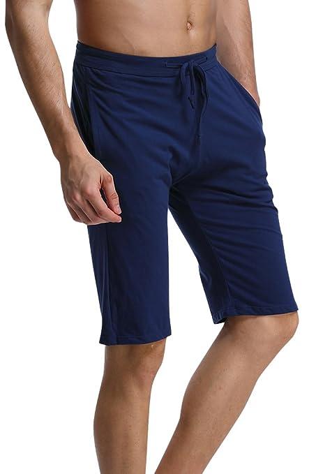 Dolamen Hombre Pantalones de pijama Algodón Modal, Pantalones Boxeador Cortos Trunk Shorts Ropa de dormir Cintura elástica ajustable y…