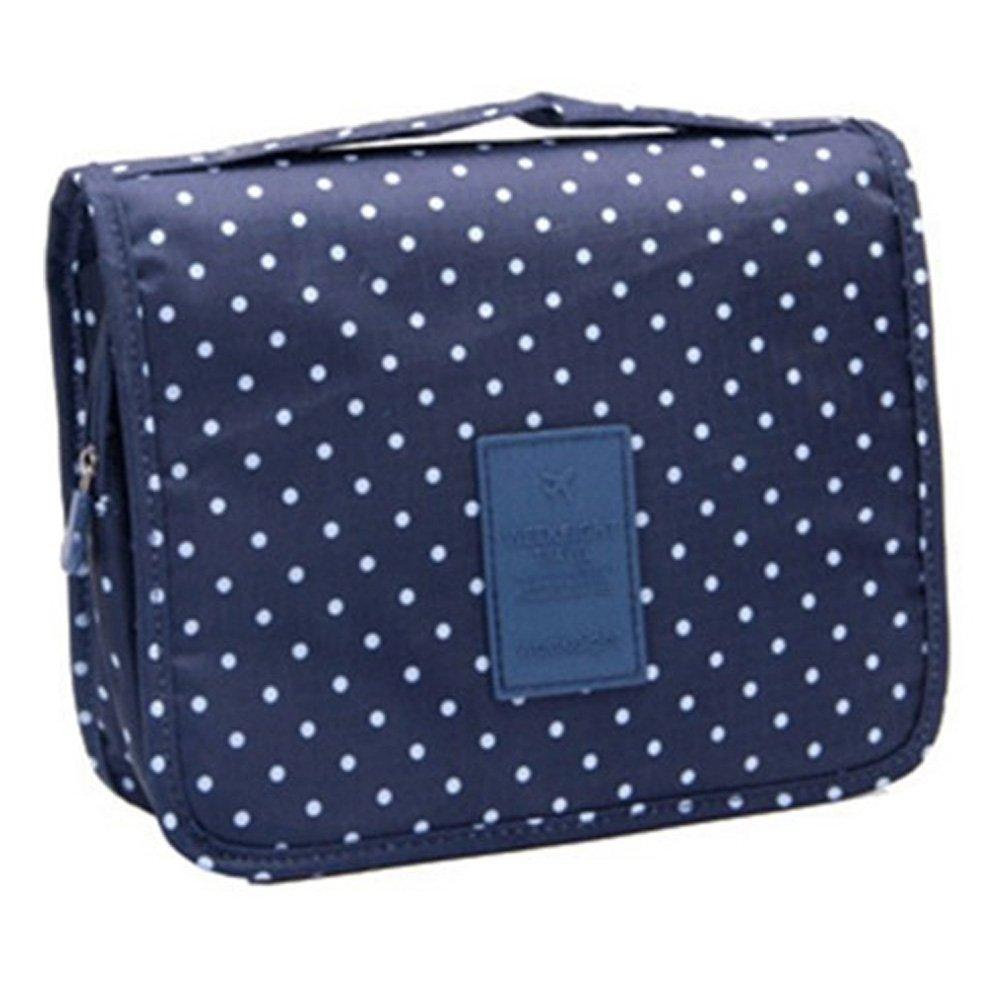 Eleidgs Multifunción Neceser Bolsa de aseo viaje de negocios viajes de vacaciones para colgar Toiletry Bag bolsa de lavado bolsa de cosméticos bolsa de aseo (Los puntos azules oscuras)