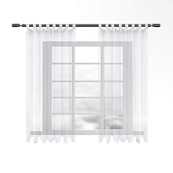 WOLTU VH5903ws-2, Gardinen transparent mit Schlaufen 2er Set kurz, Stores  Vorhang Schal Voile Tüll Wohnzimmer Schlafzimmer Landhaus, Weiss 135x175 cm