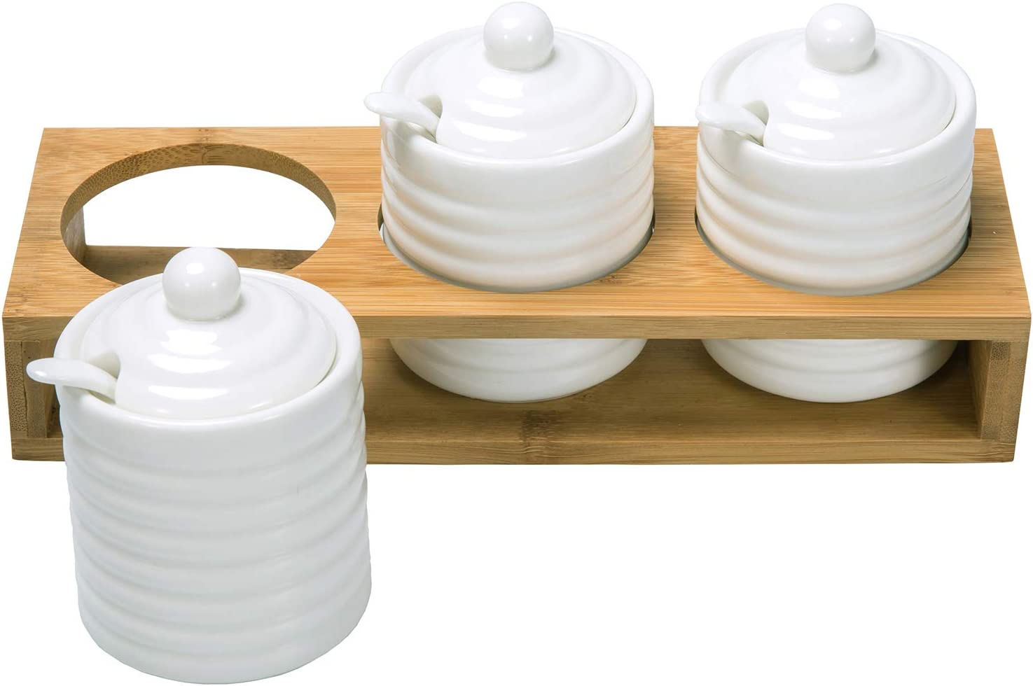 MyGift Modern White Ribbed Ceramic Home Kitchen Spice, Condiment Storage Jars with Lids, Spoons and Natural Bamboo Tray