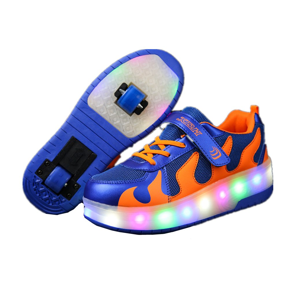 Children LED Light Up Shoes With Single/Double Wheel Roller Skate Sneakers for Boys Girls Christmas gift 24XOmx55S99