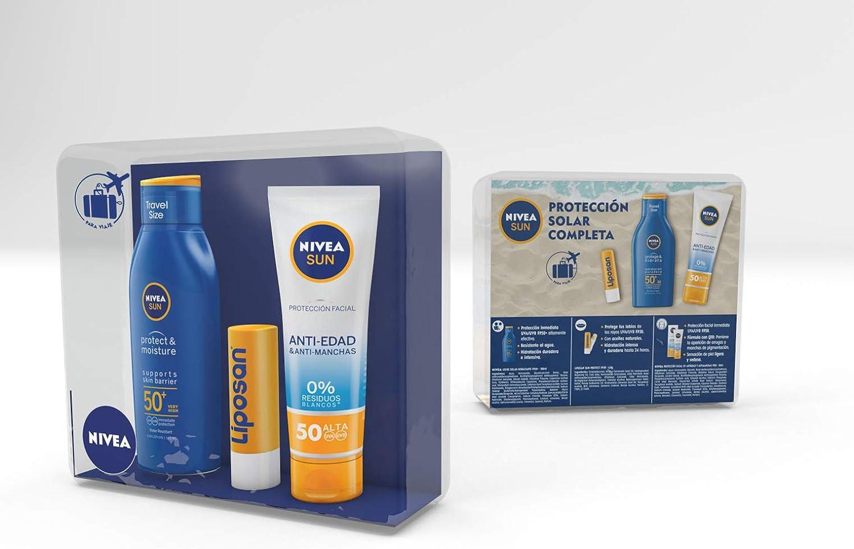 NIVEA SUN Pack Mini Solares formato de viaje: FP 50 Sun Protect 100 ml, FP 50 UV Crema Antiedad Antimanchas y Liposan Sun Protect: Amazon.es: Belleza