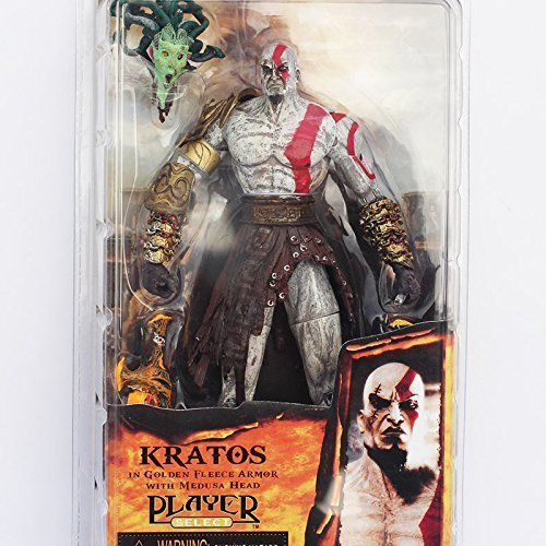 "God of War 7.5"" NECA God of War Kratos in Golden Fleece Armor with Medusa Head PVC Action Figure Collection"