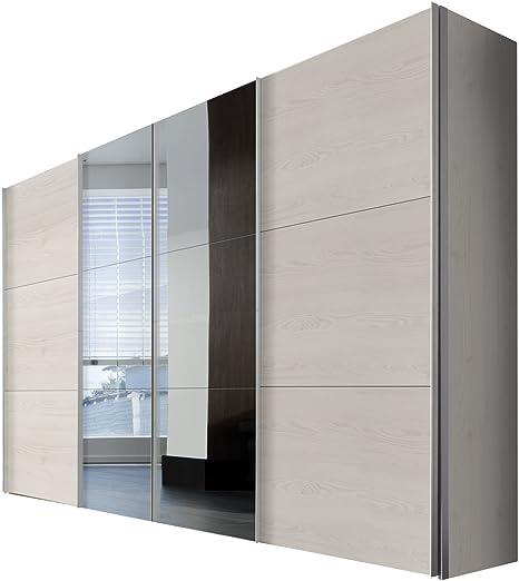 Solutions 44076 – 360 Armario con Puertas correderas, 4 Puerta, 350 x 236 x 58 cm, Paneles de alerce/Espejo, Sibiu y Mango Plisada Blanco: Amazon.es: Hogar