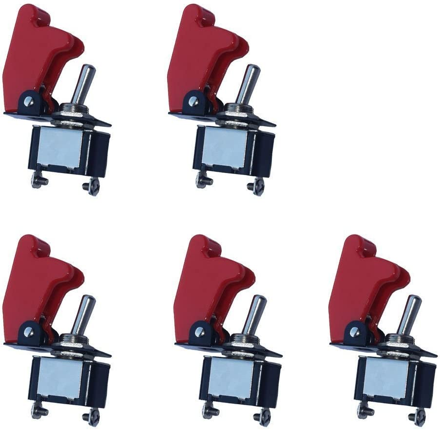 Mintice trade; 5 X KFZ Rote Kippschalter Schalter Wippschalter 12V 250V DC LED SPST 2-Polig Metall