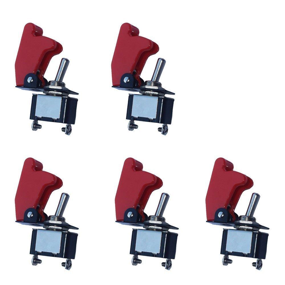Mintice™ 5 X 12V 20A couverture rouge interrupteur à bascule à bascule SPST ON / OFF voiture 2 Pin