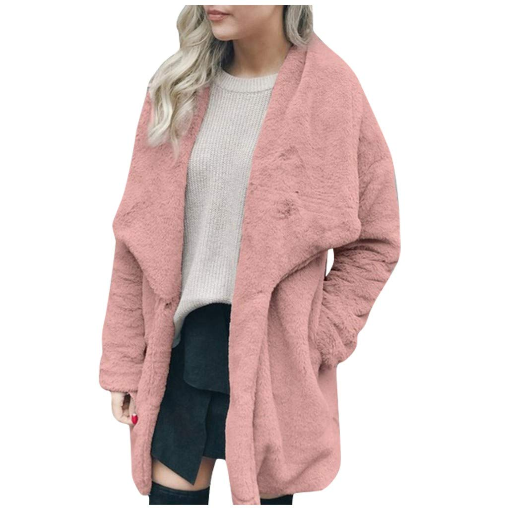 SNOWSONG Women's Long Sleeve Lapel Faux Shearling Shaggy Oversized Coat Jacket with Pockets Warm Winter Pink by SNOWSONG