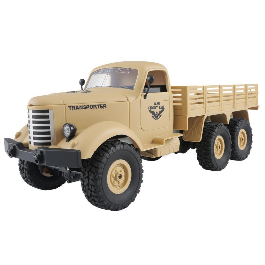 SUKEQ RC Car, JJRC Q60 1.16 2.4G Remote Control 6WD Off Road Military Truck SUV UAV RTR for Kids Adults (Yellow)
