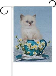 Lplpol Ragdoll Kitten Cat in Cup Decorative Garden Flag Double Sided Yard Flag Yard Banner Flag Lawn Outdoor Decoration 28x40 inches