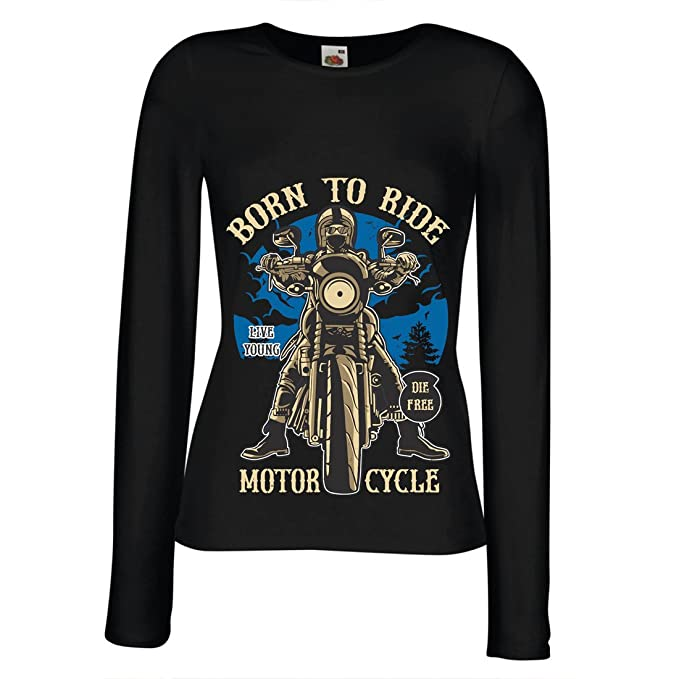dc6a2d9f lepni.me T Shirt Women Live Young - Die Free - Born to Ride Motorcycle