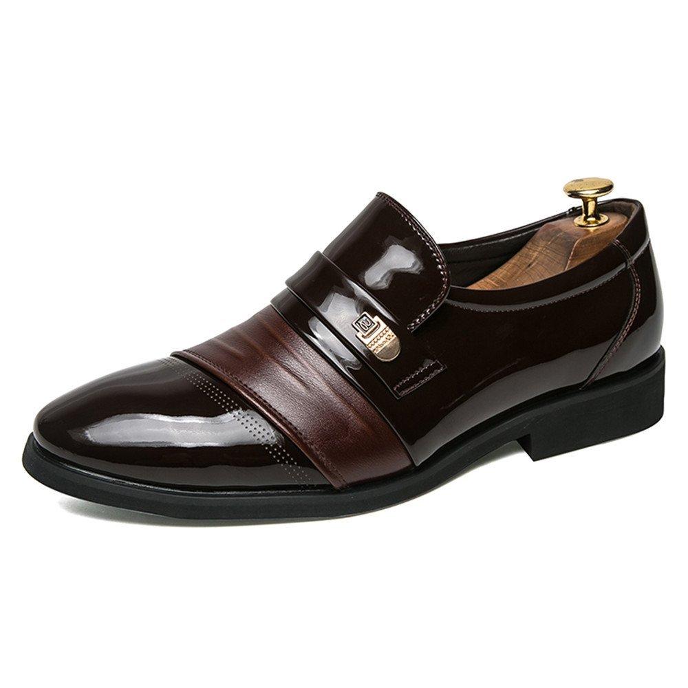 Los Hombres de Negocios Oxford Informal Puntiagudo Slurged Respira los Zapatos Formales de Estilo británico 39 EU|Marrón
