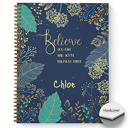 """HARDCOVER Believe You Can Personalized Motivational Notebook/Journal, Satin Matte Finish, 120 Checklist pages, lay flat wire-o spiral. Size: 8.5"""" x 11"""". Made in the USA"""