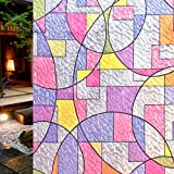 DuoFire Decorative Film Privacy Window Film Stained Glass Film Geometric Circle Pattern No Glue Anti-UV Removable Window Cling Non-Adhesive window privacy film D95-Y08,(35.4in. x 78.7in.) 90cm x 200cm