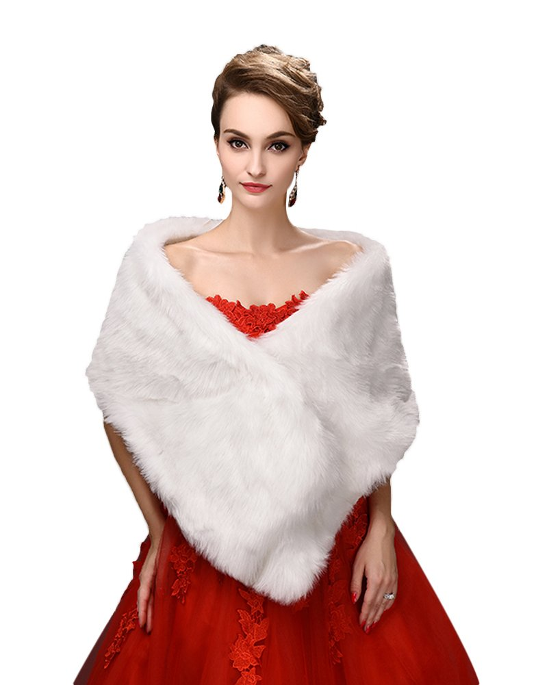 Style1 White SK Studio Womens Slim Fluffy Faux Fur Knit Shawls Cape Coat Brown