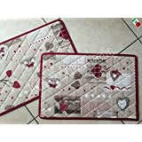 "Set 2 tovagliette americane colazione ""Holly Bordeaux"" Cuori Tirolese Country Chic- Made in Italy"