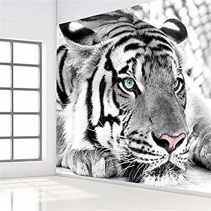 Bzdhwwh Foto Tigre Sfondo Bianco E Nero Murali Animale Ingresso
