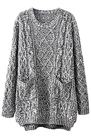 eed36df50d Womens Grau Oversized Strickpullover mit Zopfmuster: Amazon.de ...