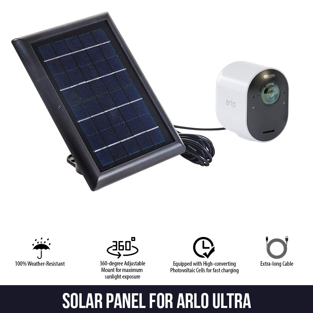 Solar Panel Compatible with Arlo Ultra - Power Your Arlo Surveillance Camera continuously (Black) by Wasserstein (Image #3)