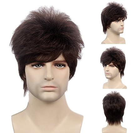 STfantasy - Peluca para hombre, color marrón, corta y recta, con capas,