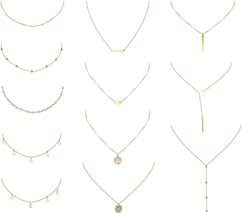 YADOCA 12 Piezas Collar de Múltiples Capas para Mujeres Niñas Corazón Hoja Estrella Luna Perlas de Turquesa Collar Colgante Vintage Gargantilla Cadena Clavícula