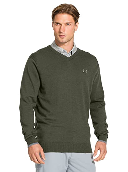 Amazoncom Under Armour Merino V Neck Sweater Mens Rough Steel
