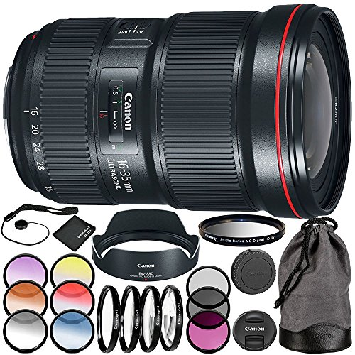 Canon EF 16-35mm f/2.8L III USM Lens 11PC Accessory Kit - Includes 3 Piece Filter Kit (UV + CPL + FLD + 4PC Macro Filter Set (+1,+2,+4,+10) + MORE by Canon