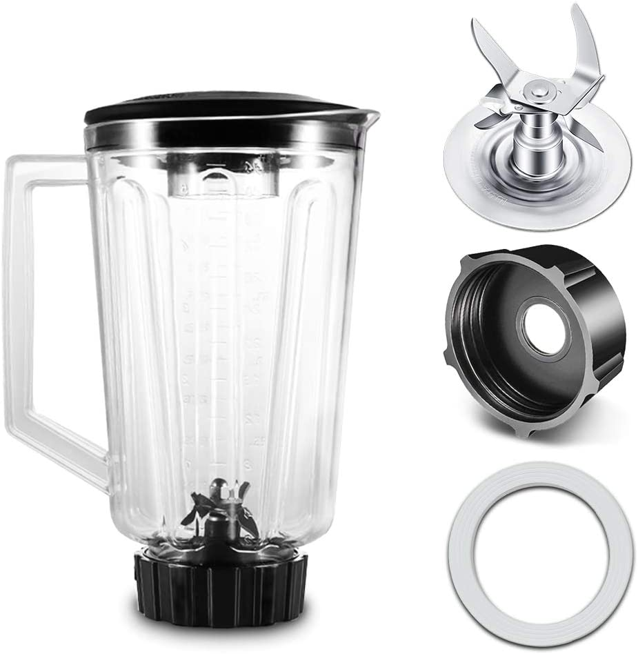 Replacement 5 Cup Plastic Square Top Blender Jar, Include 4980 Ice Crushing Blade, 4902 Jar Base Cap and Rubber O-Ring Gasket, Blenders Replacement Parts Compatible with Oster and Osterizer Blenders
