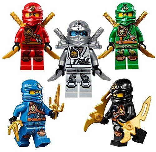 LEGO® NinjagoTM: Ninja's set of 5 - Lloyd, Cole, Jay, Kai, Zane Zukin Robes minifigures -