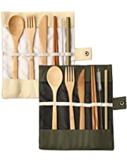 2 Pack Bamboo Travel Cutlery Set, BetterJonny Bamboo Cutlery Reusable Travel Cutlery Set Include Knife Fork Spoon Chopsticks and Straws for Camping School