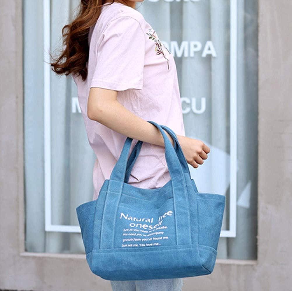 A.OAQRFA Polyester-Frauen-weiche Reißverschluss-Handtaschen-Frauen-Beutelfeminina-Segeltuch-Beutel-Schulter-Beutel-Retro Gezeiten-große Beutel, 30X17X27CM Blau