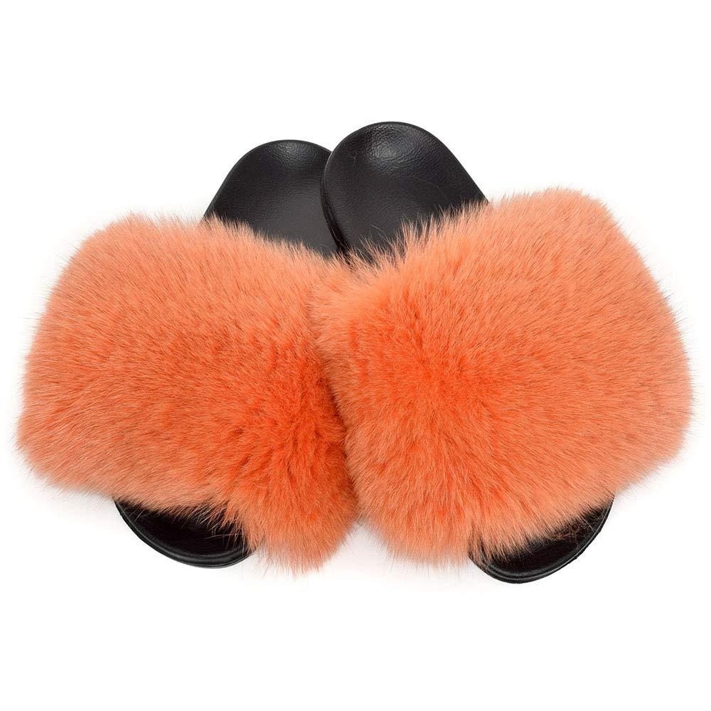 Fell Latschen Pelz Pantoffeln mit mit mit Orange Fuchs Echtfell Echtpelz Schlappen Sandalen mit Pelz Fuchsfell Slipper Slides Schuhe Pantoletten cb50bb