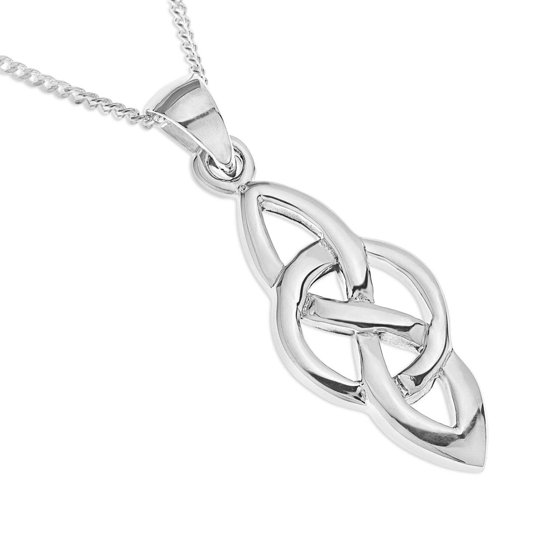 Ornami Ladies' Silver Celtic Knot Pendant with 46 cm Curb Chain fNMzT5dOaK