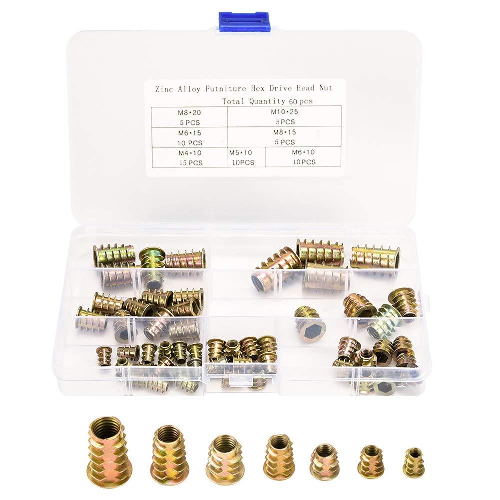 Zinc Alloy 60 pcs Wood Threaded Insert Nuts Assorted M4 M5 M6 M8 M10 Hex Socket Insert Nuts Kits for Wood Furniture