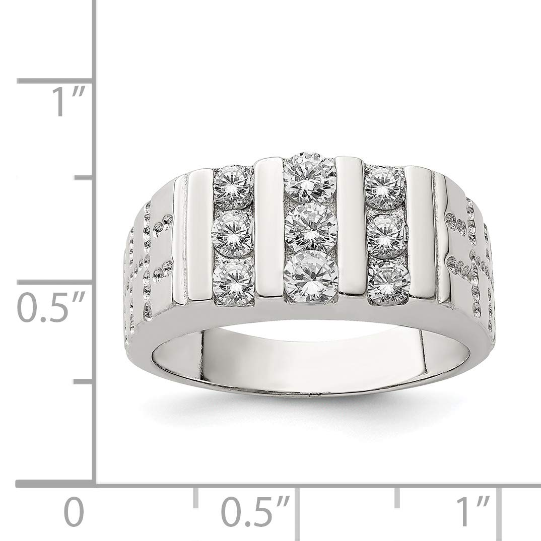 Sterling Silver Mens Synthetic CZ Ring