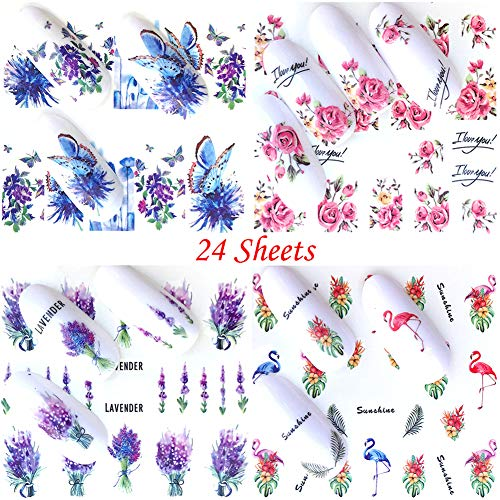 Nail Stickers Decals for Women Nail Water Transfer Tattoo Nail Art Stickers Decorations Animal Flower Fruit Nail Art Supplies Accessories (24 Sheets)