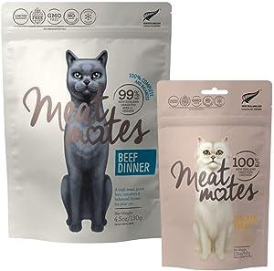 Meat Mates Grain-Free Cat Beef Dinner 4.5oz and Chicken Bites 1.7oz Bundle