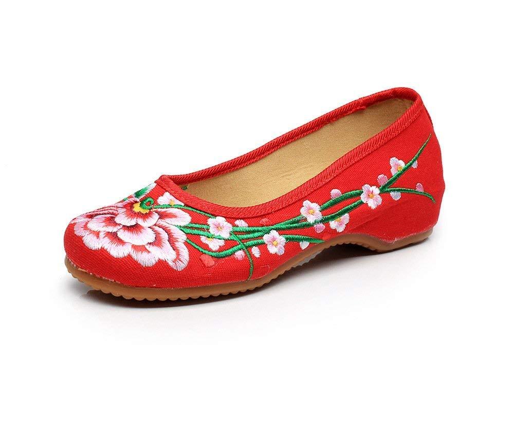 Fuxitoggo Bestickte Schuhe Sehnensohle Ethno-Stil weibliche Stoffschuhe Mode bequem lässig lässig lässig innerhalb der Erhöhung rot 40 (Farbe   - Größe   -) 7be355