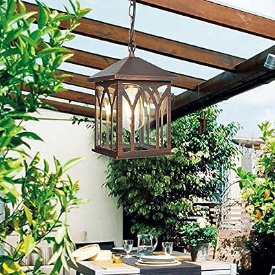 Memnk Linterna colgante de porche cuadrado Exterior a prueba de lluvia Óxido de aluminio Techo suspendido Luminaria E27 Exterior Gazebo de jardín Decoración de viñedo Colgante de metal Lámpara de arañ: Amazon.es: