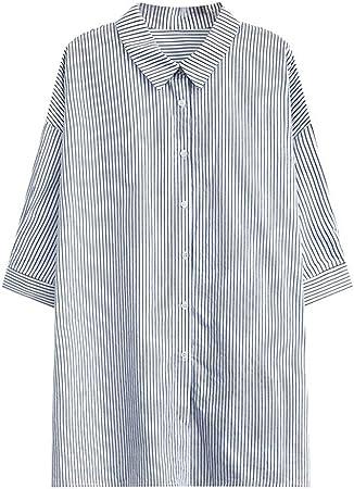 Blusas para mujer Tops Camisa larga de solapa de rayas verticales de otoño e invierno for