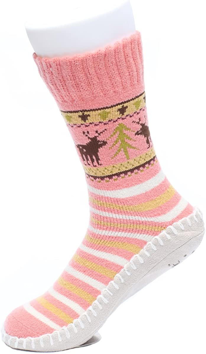 Ofoot Womens Stripes Polyester Knitted Home Slipper Socks with Non-Slip Suede Sole